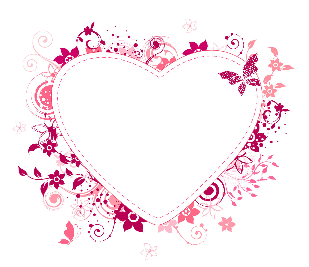 Corazón de flores rosa
