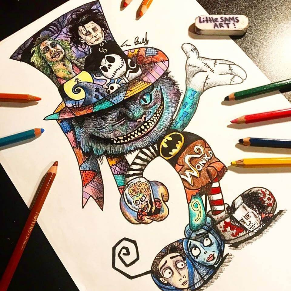 14-Tim-Burton-Movies-Sam-Brunell-littlesamsart-Movie-Character-Drawings-within-Characters-www-designstack-co