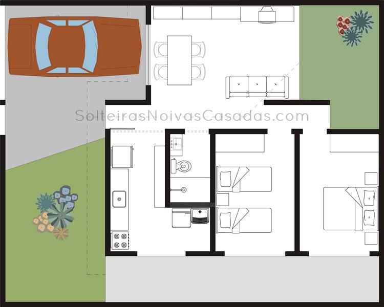 Plantas com 2 quartos