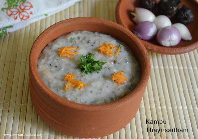Kambu Thayir Sadham / Pearl Millet Curd Rice