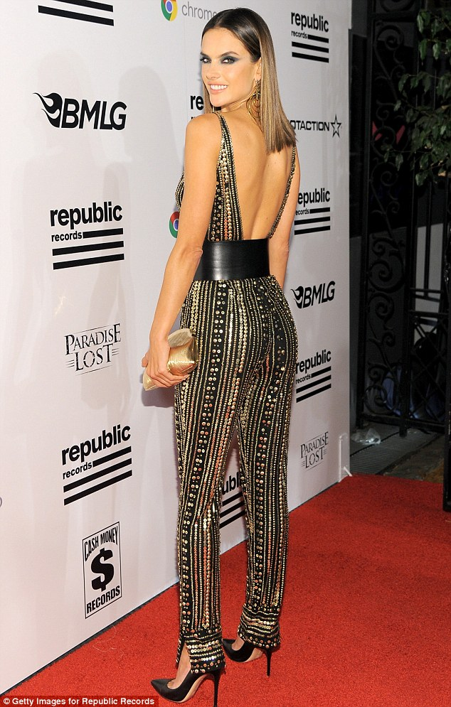 Alessandra Ambrosio bares cleavage at Republic Records Grammys After Party