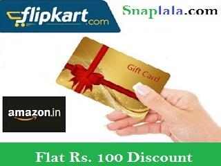 amazon, flipkar, gift card, discount, flat off, rs.100 off, deal, cashback, phone pe, komparify