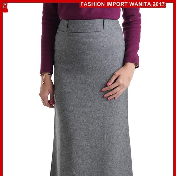 ADR186 Rok Wanita Panjang Abu Import BMGShop