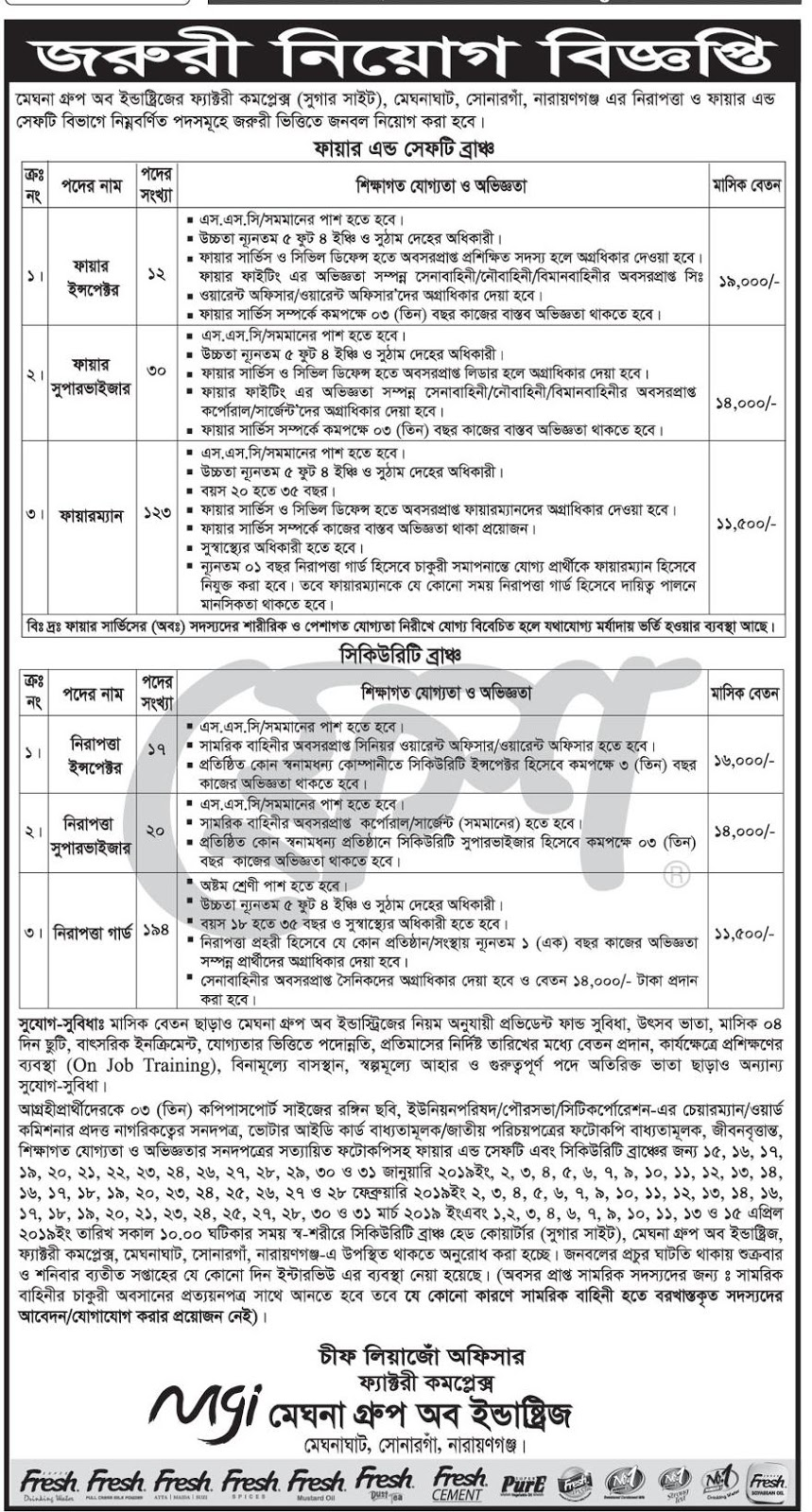 Meghna Group of Industries (MGI) Job Circular 2019