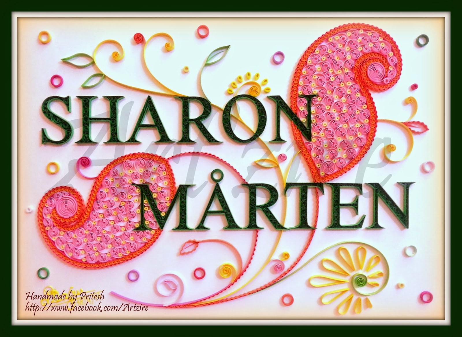 Lovely Quilling Me Softly: Quilled Name Plate - Sharon and Mårten OV86
