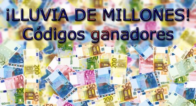 codigos ganadores de la lluvia de millones en euromillones