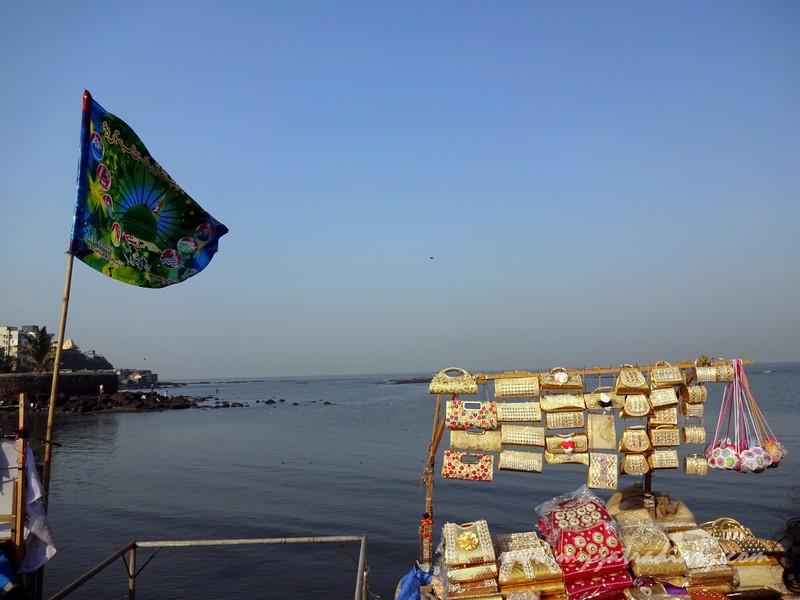 Knick knack shops at Haji Ali Dargah causeway, Mumbai