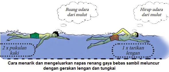 Gambar Melakukan teknik pernafasan renang gaya bebas dengan posisi badan terapung di atas permukaan air