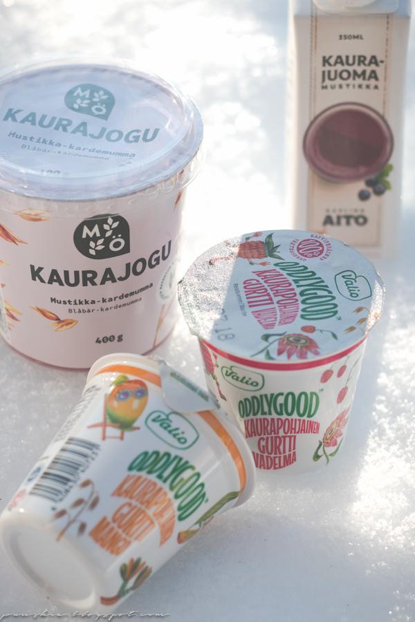Maitotuotteiden korvaajia: Mö kaurajogu, Valion kaurapohjainen gurtti ja Kaslinkin Aito kaurajuoma