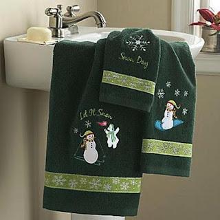 toallas de navidad verdes
