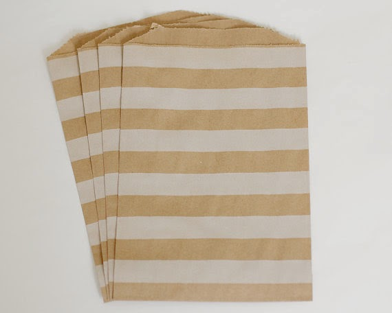 Kraft paper striped favour bags