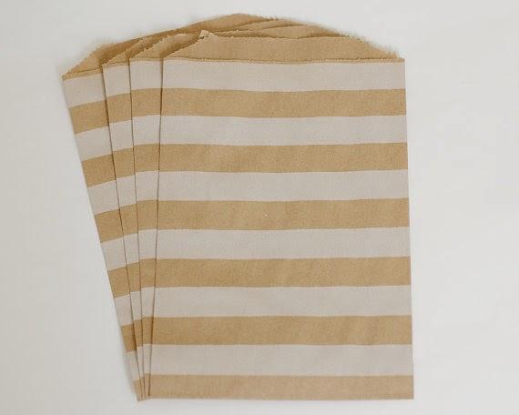 Kraft paper striped favour bags
