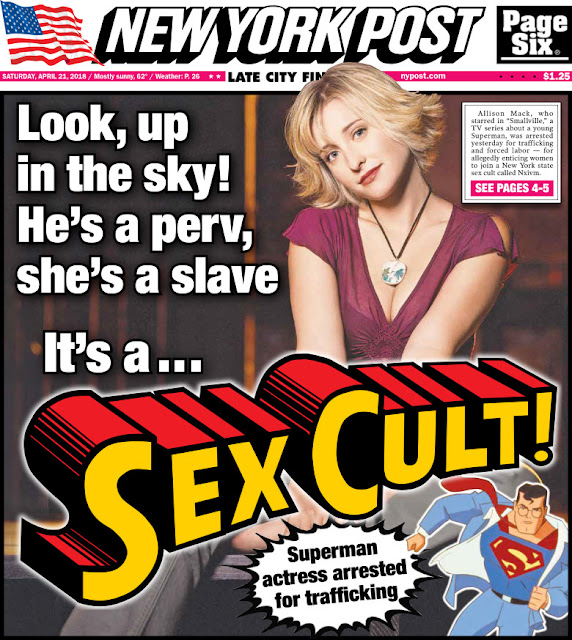 This NY Post cover seems not to be taking this  sex cult  — with  a perv  and  a slave  — very seriously.