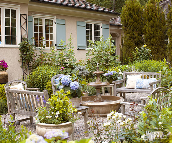 Outdoor living- Pea gravel patio Inspiration - French ... on Country Patio Ideas id=23913