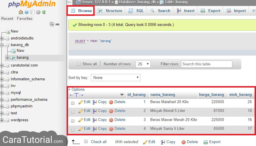 Insert data ke dalam tabel mysql phpmyadmin xampp