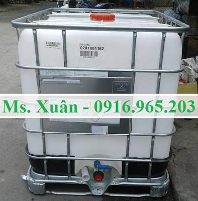 Bồn nhựa cũ ibc 1000 lít đựng hóa chất, tank ibc 1000 lít