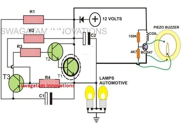 2 pin motor cycle flasher with buzzer circuit using two transistors