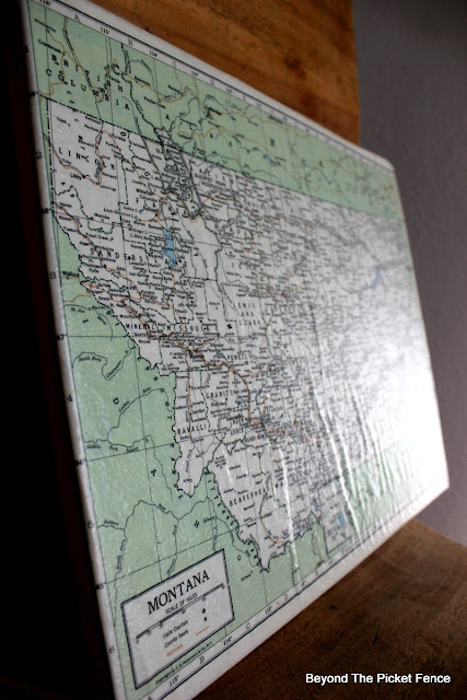 Modge Podge, decoupage, glue, canvas, vintage map, http://bec4-beyondthepicketfence.blogspot.com/2015/09/map-canvas.html