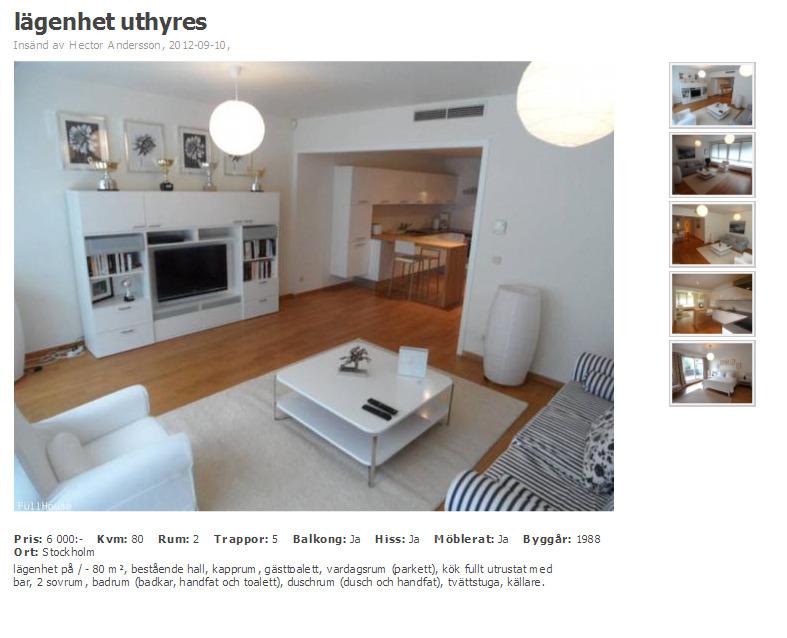 wohnungsbetrug blogspot com lägenhet uthyres Stockholm Insänd av Hector Andersson fraud bedrägeri