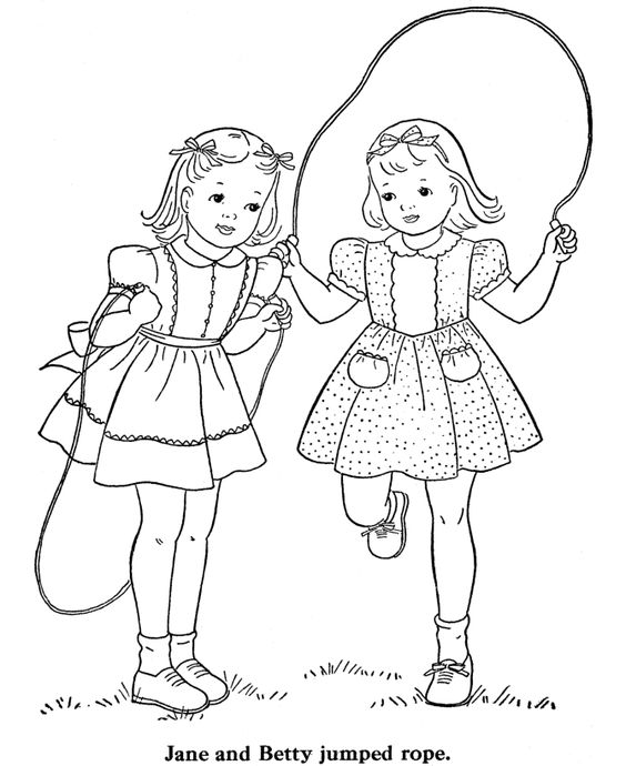 Tranh cho bé tô màu đôi bạn đang chơi nhảy dây