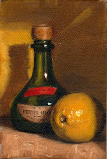 Oil painting of a lemon beside a green onion-shaped bottle with a cork (a Moët & Chandon Petite Liqueur Bottle).