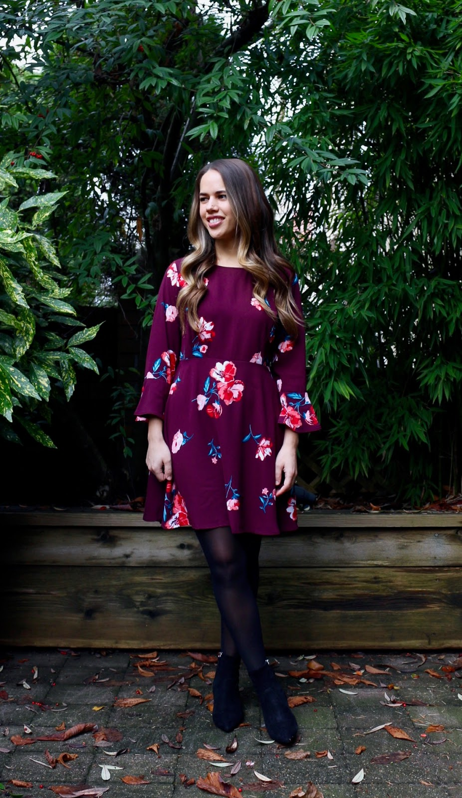 Jules in Flats - Old Navy Fit and Flare Flute Sleeve Crepe Dress (Business Casual Winter Workwear on a Budget)