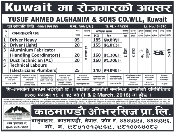 Jobs for Nepali in Kuwait, Salary - Rs.67,415/