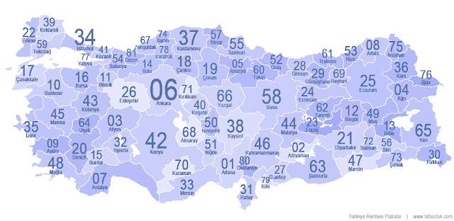 Türkiye İl Plaka Kodları Haritası