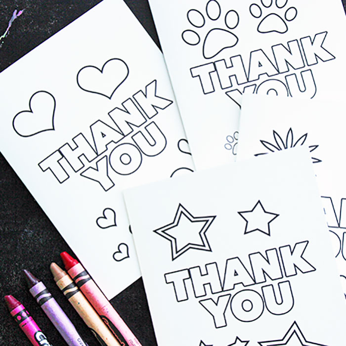 This is an image of Fan Printable Thank You Cards for Kids