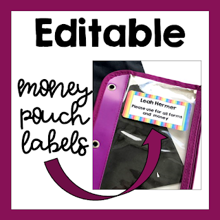 Editable Labels for Money Pouches