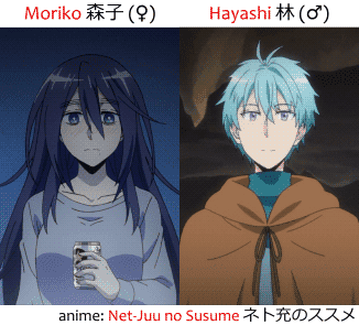 Character Moriko from Net-Juu no Susume and her male avatar Hayashi