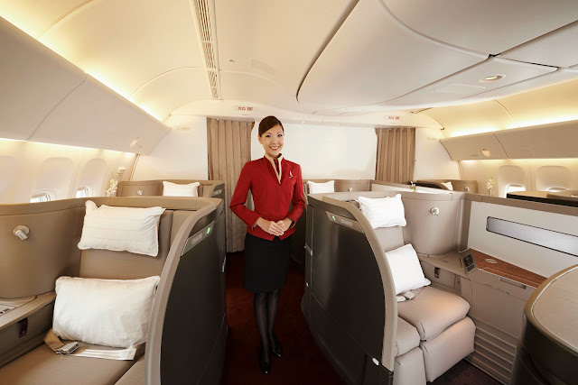 The refreshed Cathay Pacific First Class cabin