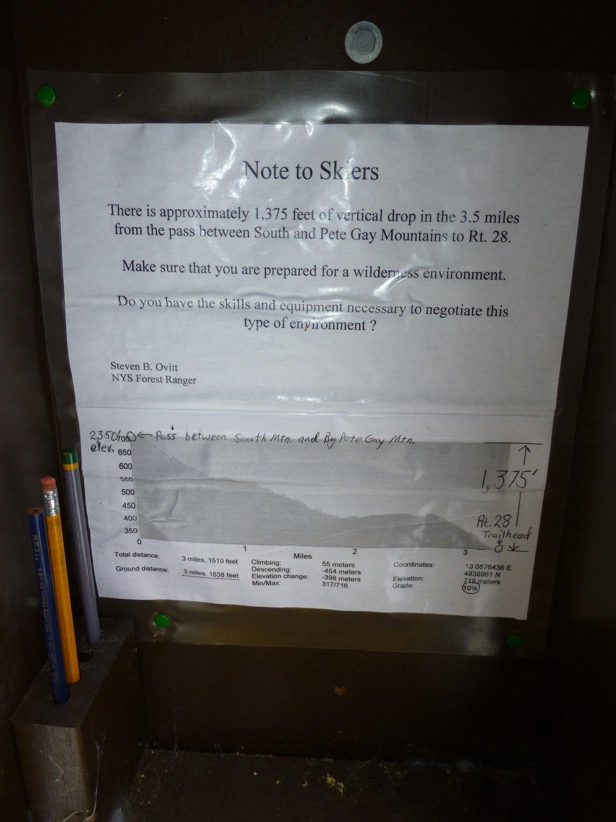 Notice at the Kiosk describing the route