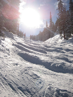 Nasty moguls in Garrett Gulch at Snowmass