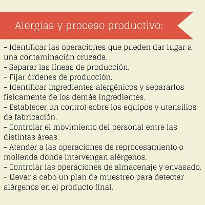 Tips, consejos, alergias, intolerancias, proceso productivo