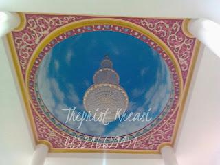 Lukis kubah masjid, lukis awan, lukis kaligrafi masjid, lukis awan, lukis dome, lukis plsfond