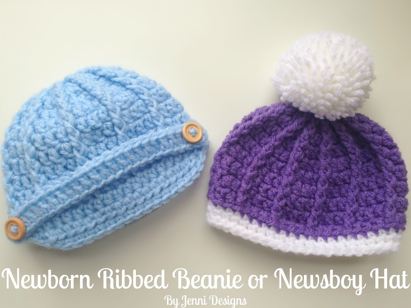 Free Crochet Pattern  Newborn Ribbed Beanie or Newsboy Hat. (Shown in Red  Heart ... 35953be415d