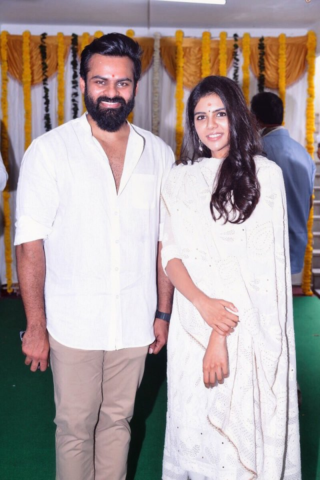 Sai Dharam Tej and Kalyani Priyadarshan at Chitralahari launch event