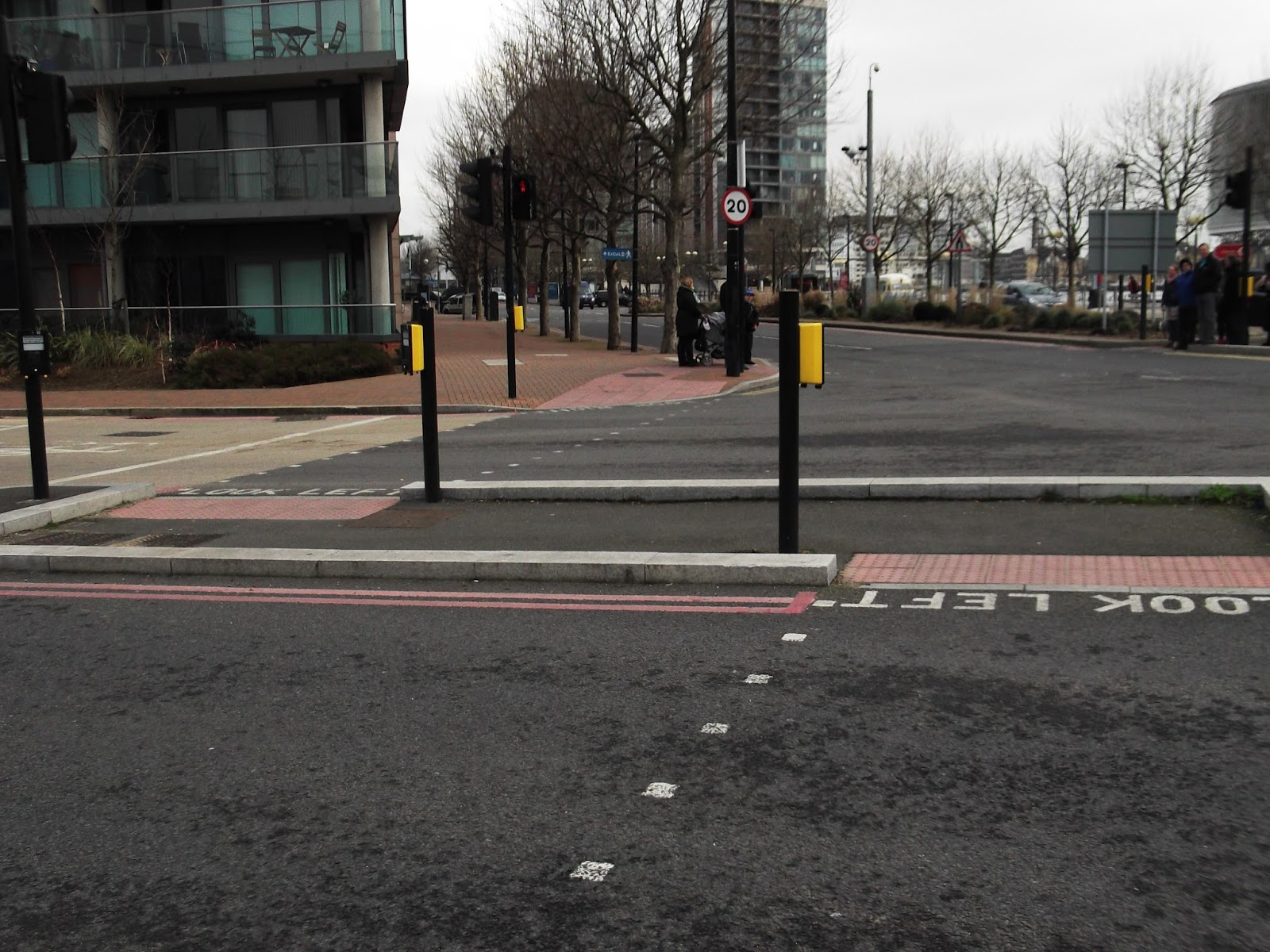 Diagonal pedestrian crossing. Crossroads with a pedestrian crossing diagonally