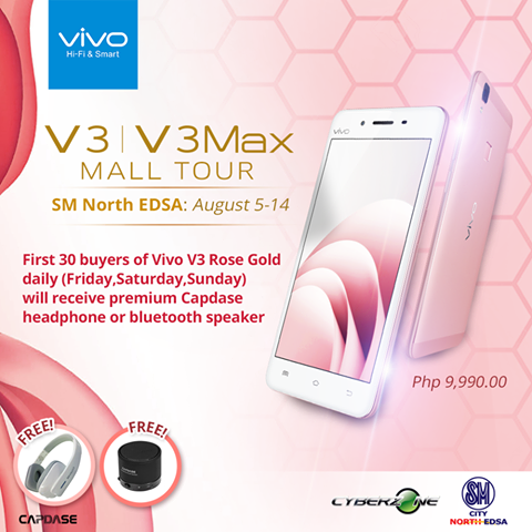 Freebies when you purchase a Rose Gold Vivo V3 phone this August