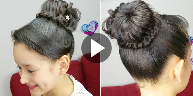 Learn - How To Create Flower Braided Bun Hairstyle, See Tutorial