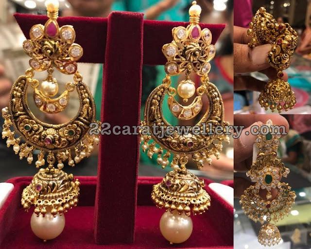 Large Chandbali Jhumkas with Nakshi Work