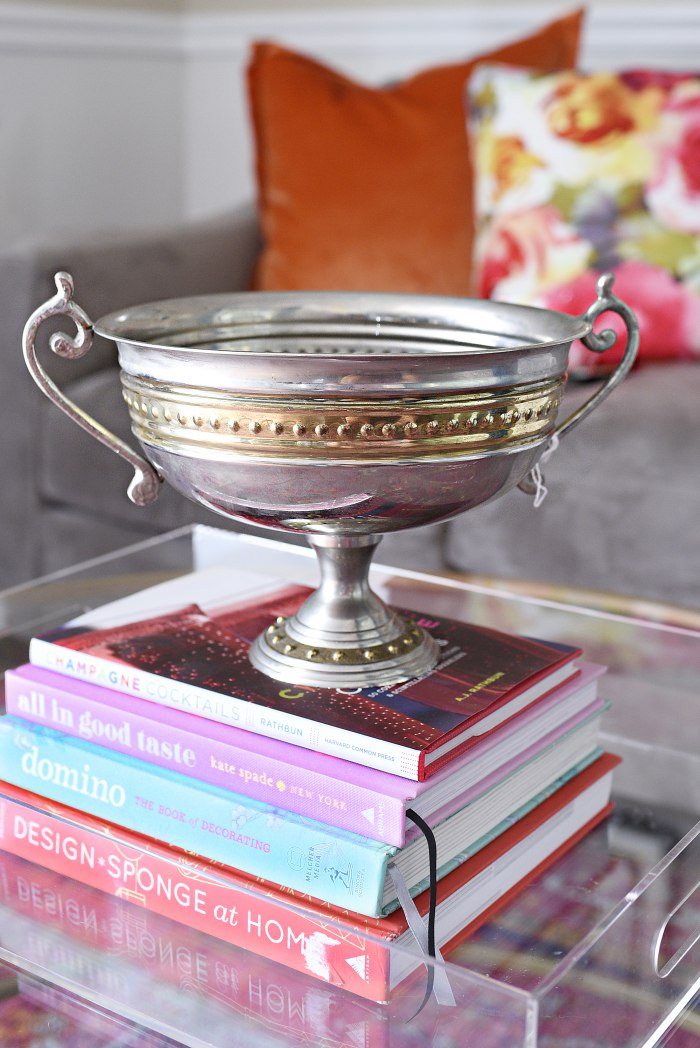 Silver and gold beaded trophy pedestal vase + Tips for shopping for home decor at antique and thrift stores. | via monicawantsit.com