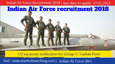 Indian Air Force Recruitment 2018 , 122 vacancies notification for Group 'C' Civilian Posts