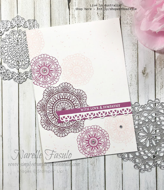 Simple stamping with one stamp set and a couple of colour inks. I used the Dear Doily stamp set and some of the retiring InColors.