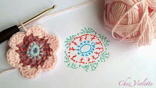 Cartucheras a Crochet flor rosa