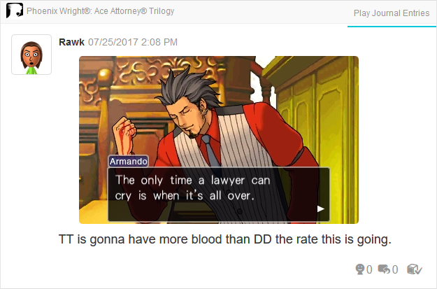 Phoenix Wright Ace Attorney Trials and Tribulations Diego Armando the only time a lawyer can cry is when it's all over