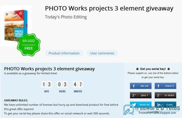 Offre promotionnelle : PHOTO Works projects 3 elements gratuit !