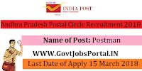 Andhra Pradesh Postal Circle Recruitment 2018– 234 Postman