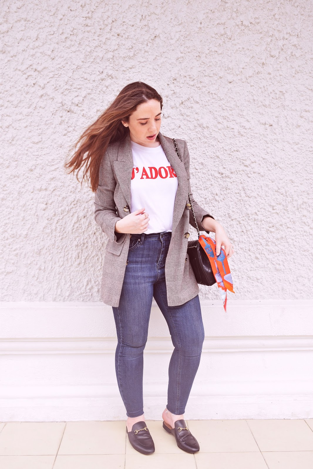 zara checked blazer outfit, gucci mules shoes, singapore life